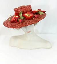 Vtg 1940s Straw Hat Red Wide Brim Silk Velvet Millinery Flowers Church Garden