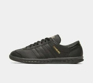 adidas Mens Originals Hamburg Shoes Leather Trainers in Black