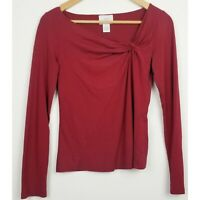 Ann Taylor LOFT womens blouse small stretch red pullover long sleeve gathered
