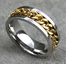 10pcs Top Quality Comfort-fit Spinner Golden Chain Men's Stainless Steel Rings