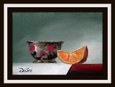 Oriental Tea Bowl & Orange : Original Impressionist Oil Painting by Chris Dewire