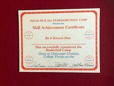 """Pistol"" Pete Maravich, ""Autograph"" (JSA Letter), ""Un-Used"" Certificate (Scarce)"