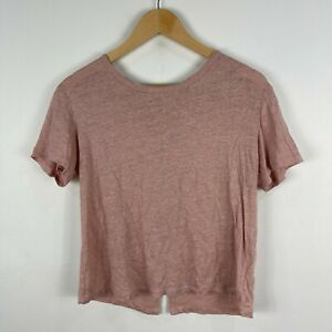 Forever New Womens Linen Top Small Champaign Pink Short Sleeve Round Neck