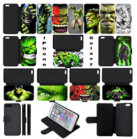 INCREDIBLE HULK Marvel SUPERHERO Wallet Flip Phone Case iPhone 4 5 SE 6 7 8 X