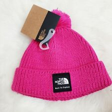 The North Face Baby Box Logo Pom Beanie Mr. Pink Infant Girls Size XS NWT