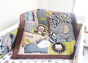 4pcs Animal world Baby Crib Cot Bedding Set Quilt Bumper Sheet Dust Ruffle New