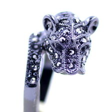 Punk style black leopard / panther / jaguar / cheetah ring, UK Size N