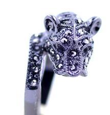 Estilo Punk Negro Leopardo/Pantera/Jaguar/Cheetah anillo, tamaño de Reino Unido N
