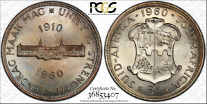 1960 SOUTH AFRICA 5 SHILLINGS PCGS PL64 PROOF LIKE TONED COIN IN HIGH GRADE