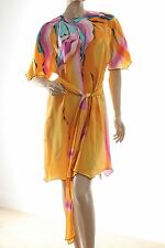 Yolanda Lorente Dress with Matching Wrap Belt Hand Painted Silk Abstract Sz P