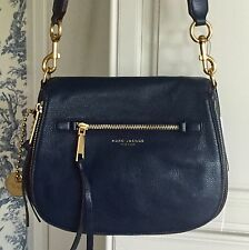 MARC JACOBS $450 Recruit Large Saddle Bag Crossbody Leather Navy Blue NWT