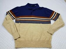 Vintage Montgomery Ward Mens Sweater Multi-color 1/4 Button Size S