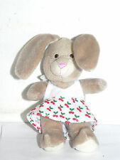 "Estate 5"" tall stuffed Bunny Rabbit with Large Ears Wearing Cherry Dress=Easter"