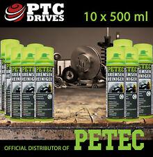 10x 500ml Intensiv Bremsenreiniger, Teilereiniger Spray ORIGINAL PETEC f. PROFIS