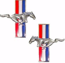 Mustang Tri Bar Metal Emble Chrome Running Horse Emblems Side Fender Decals Ford