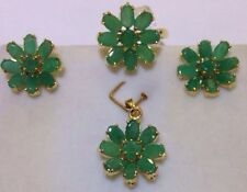 14k Solid Yellow Gold Cluster Set Earrings Ring Pendant9.51CTNatural Emerald6.10