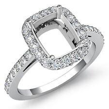 Diamond Engagement Ring Cushion Semi Mount 18k White Gold Halo Setting 0.45Ct