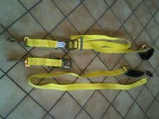 2 YELLOW RATCHET AXLE STRAP TIE DOWN TOW AUTO HAULER SHACKLE CLEVIS SLING TRUCK