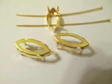 24 Gold Plated 15x7 Settings Crystals Stones Sew On On's  Fits 4202/2