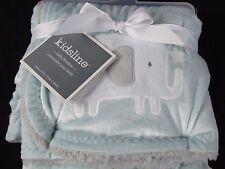 New Kidsline Blue Mink Jungle ELEPHANT Boa Blanket w/ Gray Fleece Back 30 x 40