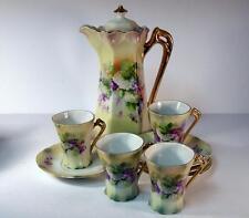 Antique German Porcelain Chocolate Pot Set with Forget Me Nots & Hydrangeas