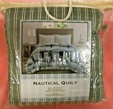 NANTUCKET GREEN TWIN QUILT  : NAUTICAL GREEN/WHITE STRIPE WITH SAILBOATS