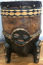 Authentic Hand Carved Wood Large African Africa Zambia Art Animal Hide Drum