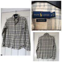Ralph Lauren Grey Shirt Long Sleeve Thick Mens Size Medium M Checked (B462)