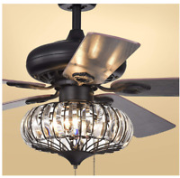 """Tiffany Crystals Ceiling Fan Light Chandelier Dinning Room Lamp Home Fixture 52"""""""