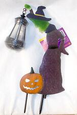 Ross Light Weather Proof Purple Green Orange Witch Stake Halloween Lantern 15in