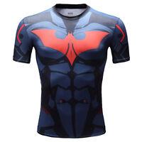 Superhero Superman BK Style B Men Compression Shirt Top Short Sleeve For Outdoor