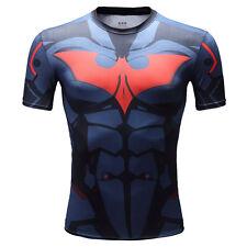 Superhero Batman Agents Men Compression Shirt Top Short Sleeve For Tight Outdoor