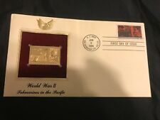 """1994 WWII 'Submarines in the Pacific"""" USPS 22kt gold replica stamp 1st day issue"""