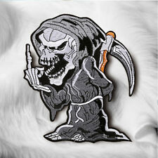 Devil Skull Grim Reaper Embroidered Sew On Iron On Patch Badge Fabric DIY Craft