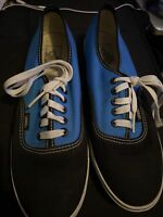 Vans Off The Wall Mens Size 9 Black Canvas Low Top Sneakers Skateboard Shoe Blue