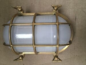 Outdoor Antique Brass Bulkhead Light Large IP54 Rated