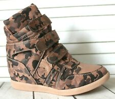 Camoflage Wedge Trainers Mid Heel Sneakers High Top Hi Ankle Boot Shoes UK 3-8