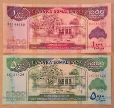 2 X Somaliland Banknotes. 1000 & 5000 Shillings. Uncirculated.