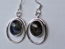 STERLING SILVER 20mm OVAL HOOP DROP EARRINGS with LABRADORITE STONES £16.95 NWT