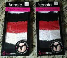 Panty Panties Thong 2 Boxes Kensie Brand 4-Pack Lace Sexy Small/Medium 5/6- New