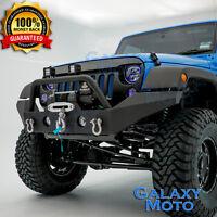 Black Rock Crawler Front Bumper+Fog Light Hole for 07-18 Jeep JK Wrangler