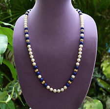 """Vintage Chinese Export 1940's 7mm Pearls 8mm Lapis 14k Beads Necklace 28"""" Long"""