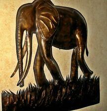 AFRICA  CONGO ARTISANAT    ELEPHANT    sculpte  main  CUIVRE    50x50cm