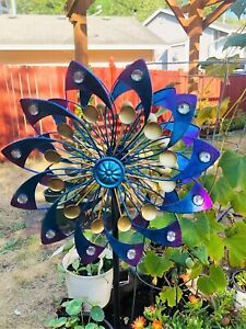 Metal Wind Mill Spinner Kinetic Outdoor Lawn Garden Decor Patio Stake Yard Art