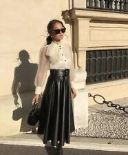ZARA Black Faux Leather Midi Skirt with Belt.  Size S