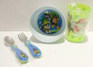 Paw Patrol Toddler Kids Mealtime Set Bowl Cup Fork Spoon 4pc *No Packaging*