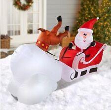 Christmas Inflatable 8' Crashing Santa & Reindeer Airblown Decoration By Gemmy