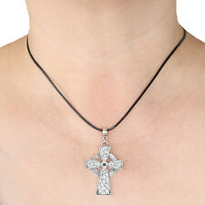 Celtic Cross Charm Pendant Necklace with Black Cord