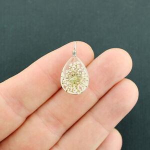 2 Wish Pendants - 3D Teardrop Glass Pendant with Dried Flower - White - Z602