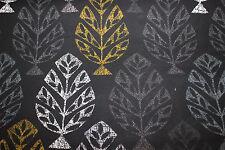 Dekostoff  0,50 x 1,40 Blätter auf dunkelgrau